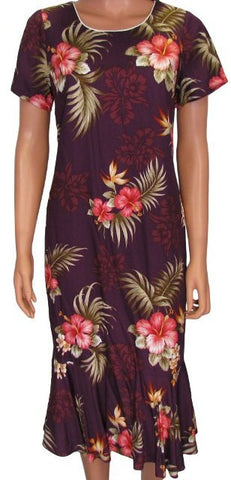 Hawaiian Dress Fern Hibiscus Purple 701-3R-FH-Purple
