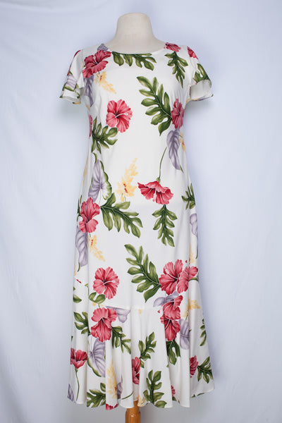 Hawaiian Dress Monstera Cream 701-3R-M-Cream