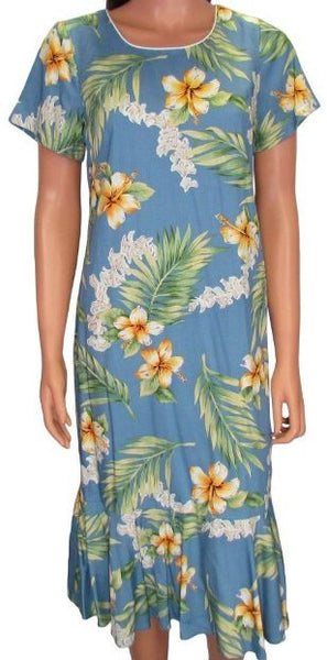 Hawaiian Dress Tuberose in Blue 701-3R-T
