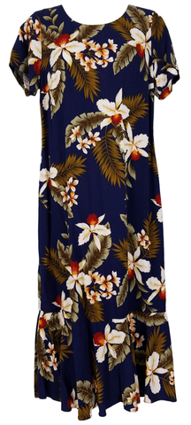 Hawaiian Dress Hawaiian Orchid Navy 701-3R-HO-Navy