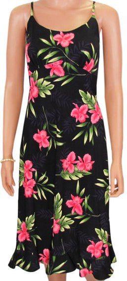 Spaghetti Strap Mid-length Dress Orchid Fern in Black