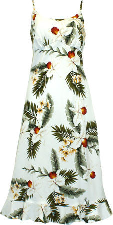 Spaghetti Strap Mid-length Dress Hawaiian Orchid White