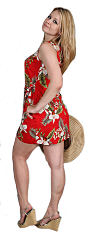 Two Palms Hawaiian Sarong Dress in Red