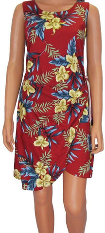 Hawaiian Sarong Dress Orchid Fern Red