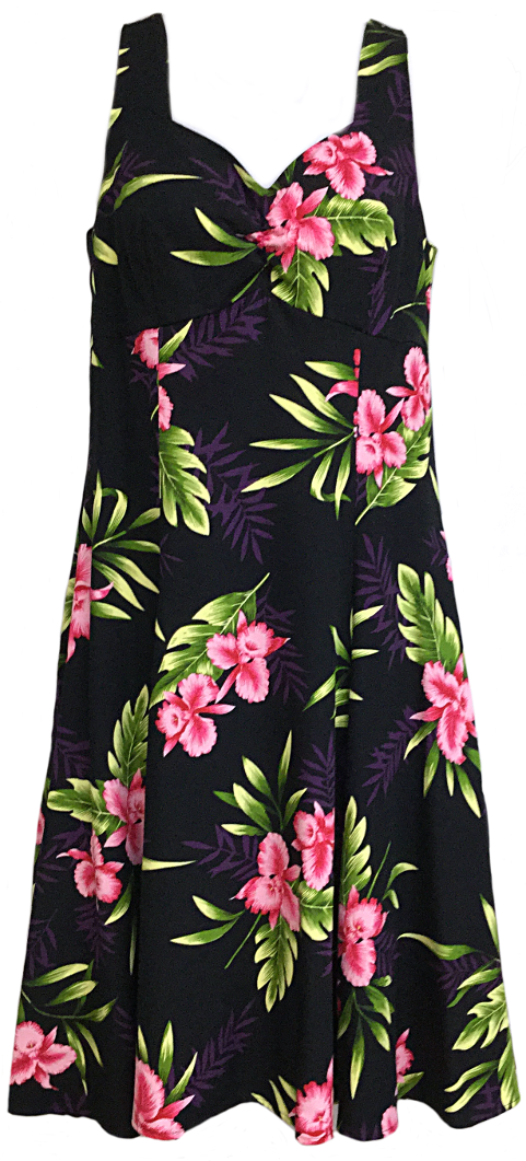 Two Palms H-Strap Dress Orchid Fern Black