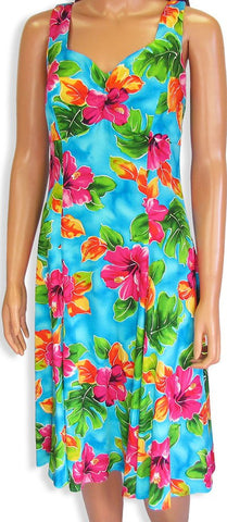 Two Palms H-Strap Dress Hibiscus Watercolors Blue