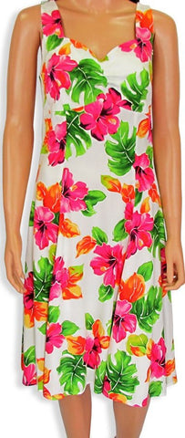 Two Palms H-Strap Dress Hibiscus Watercolors White