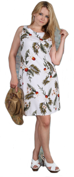 Short Tank Strap Hawaiian Dress Hawaiian Orchid White-902R