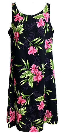 Short Tank Strap Hawaiian Dress Orchid Fern Black-902R