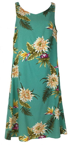 Short Tank Strap Hawaiian Dress Ceres Green-902R
