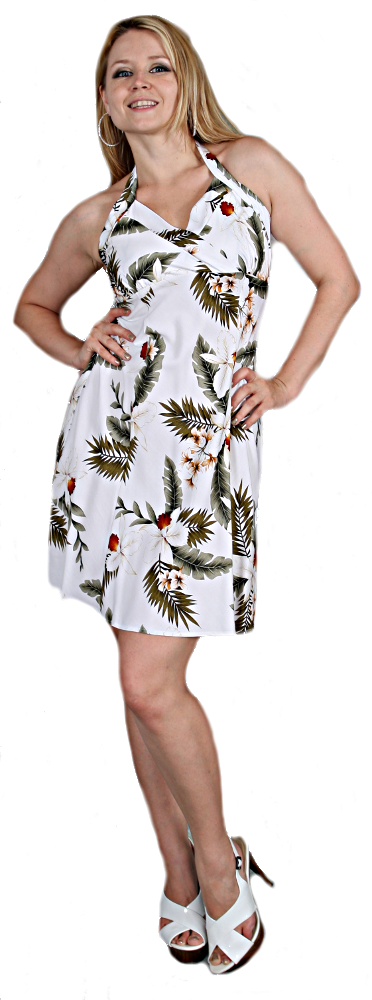 Hawaiian Short Halter Dress in white