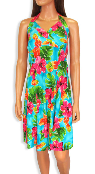 Hawaiian Short Halter Dress Hibiscus Watercolor Blue