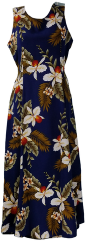 Tie Back Dress Hawaiian Orchid Navy 909R
