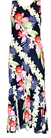 Hawaiian Dress Plumeria Orchid Panel Navy