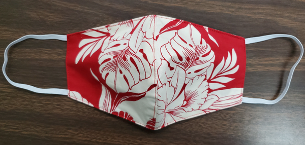 Face Mask Monstera Orchid Red
