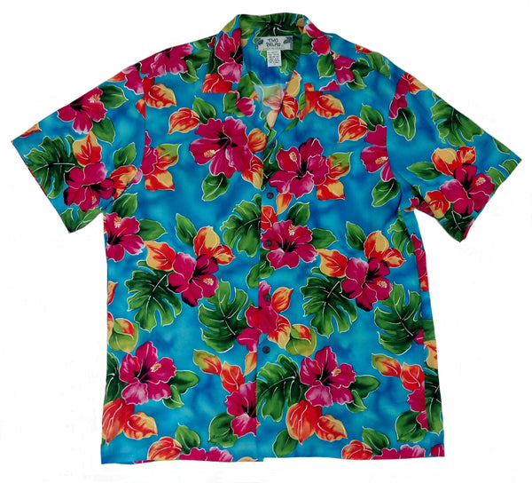 Hawaiian Shirt Hibiscus Watercolors Blue