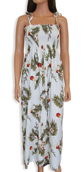 "Tube Top Dress Hawaiian Orchid White 45"" Length"