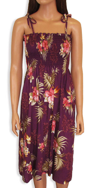 Tube Top Dress Fern Hibiscus Purple