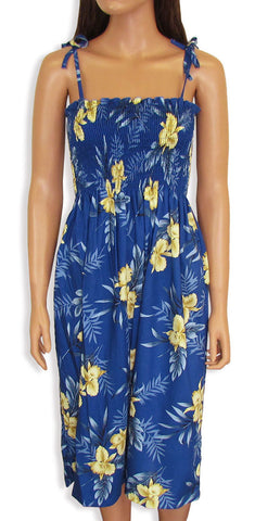 Tube Top Dress Orchid Fern Blue