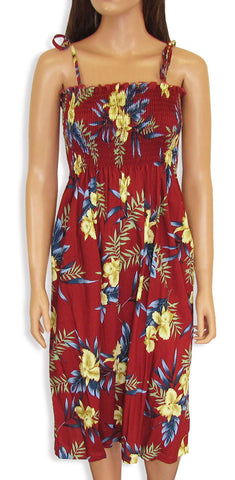 Tube Top Dress Orchid Fern Red