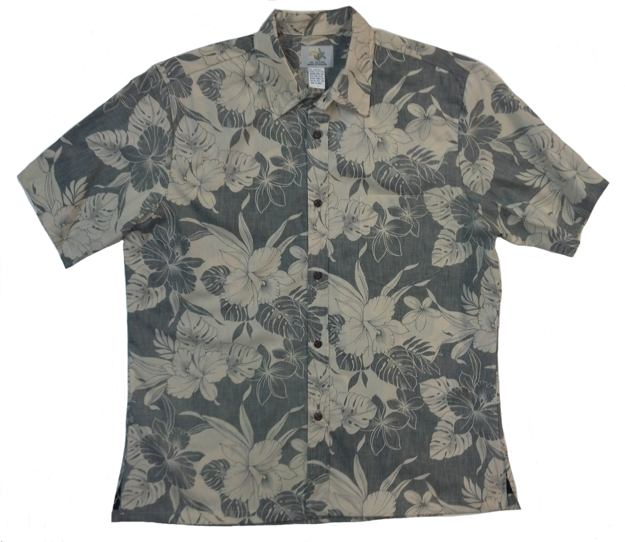 Reverse Print Shirt Orchid Monstera Black