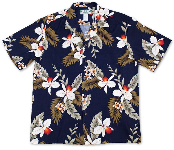 Two Palms Boys Shirt Hawaiian Orchid Navy