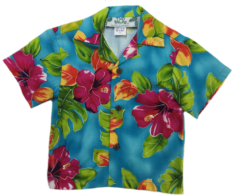 Two Palms Boys Hawaiian Shirt Hibiscus Watercolors Blue
