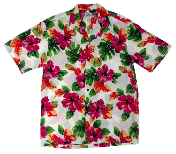Hawaiian Shirt Hibiscus Watercolors White