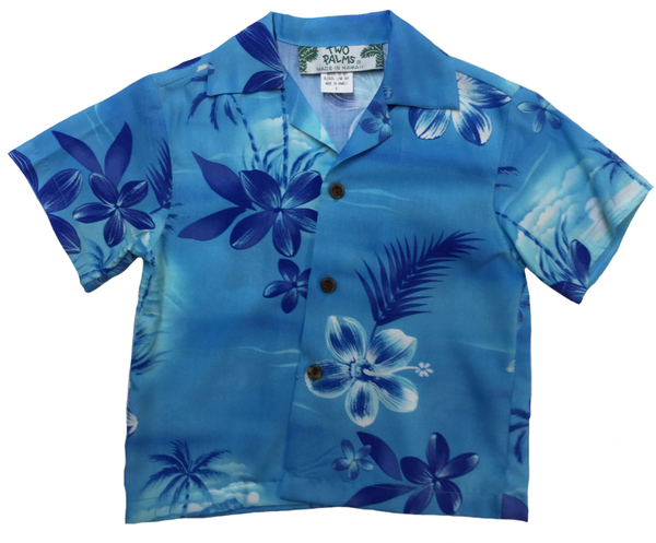Boys Hawaiian Shirt Moonlight Scenic Blue