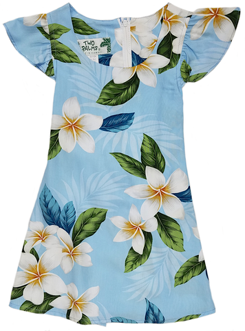 Girls Hawaiian Dress Plumeria Sky Light Blue