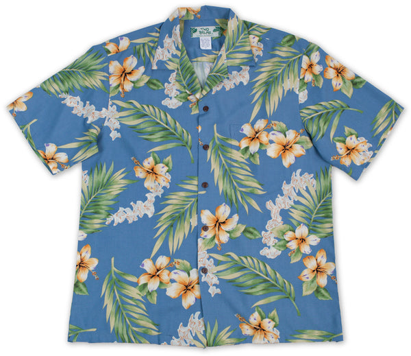 Hawaiian Shirt Tuberose Blue