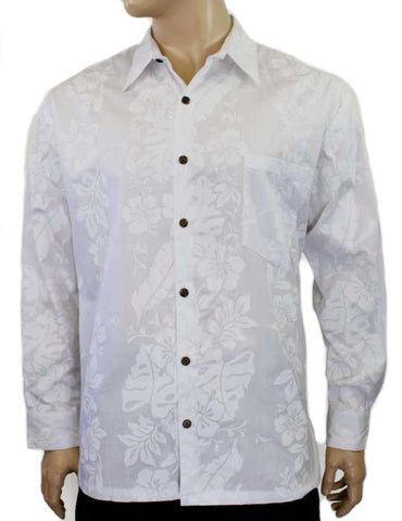 Wedding Shirt Hibiscus Panel White
