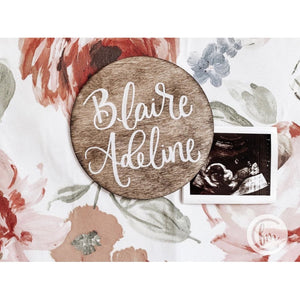 Birth Announcement wooden circle