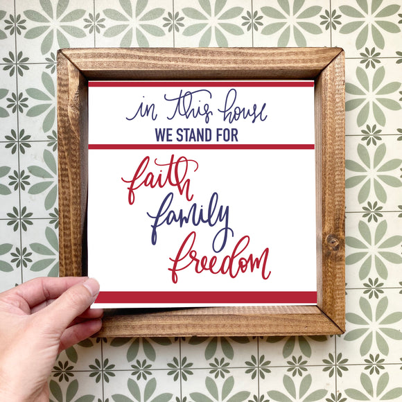 Faith Family Freedom magnetic design (design only, frame not included)