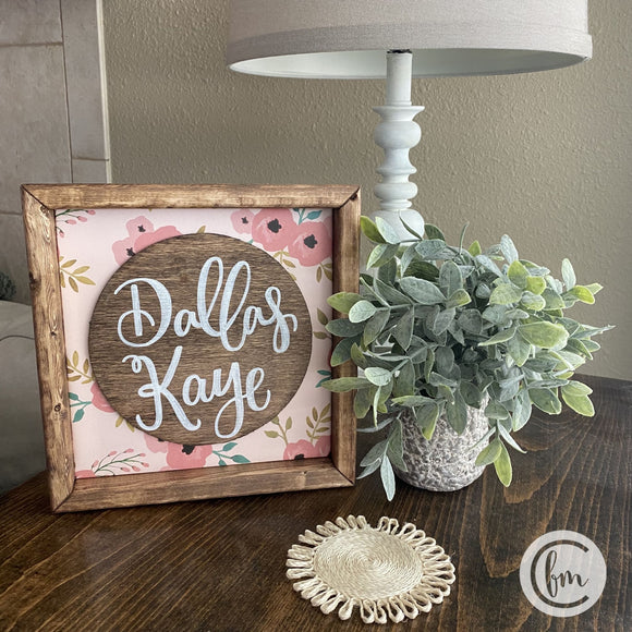 Floral baby name handmade sign
