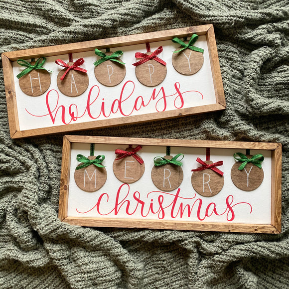 Merry Christmas ornaments handmade sign