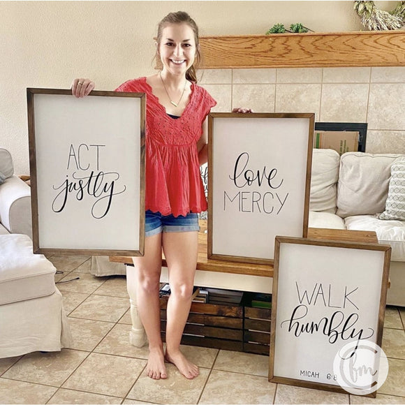 Micah 6:8 handmade sign trio
