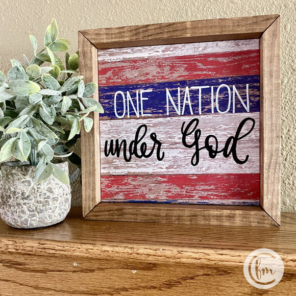 One nation under God handmade sign