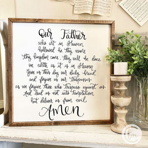Our Father handmade sign