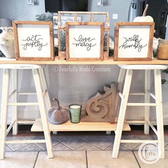 SET OF 3 act justly love mercy walk humbly handmade sign trio