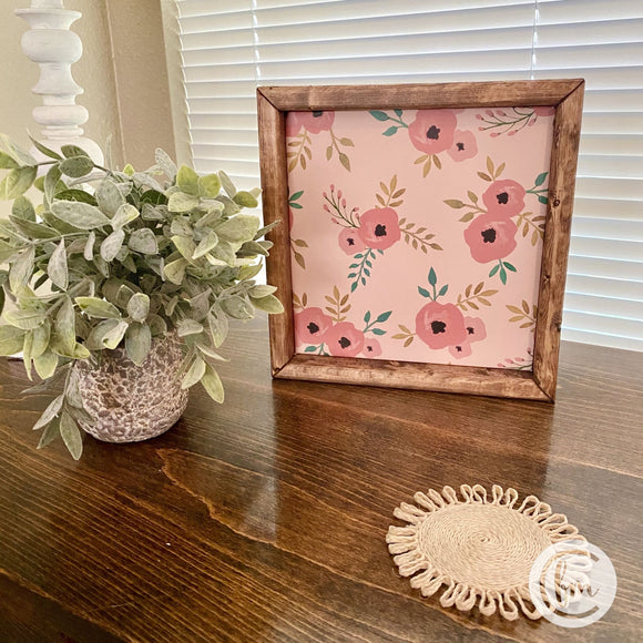 Whimsical floral handmade sign