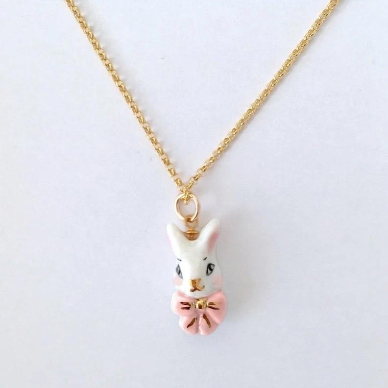 NATACHA PLANO Alice in Pink: Porcelain Bunny Necklace