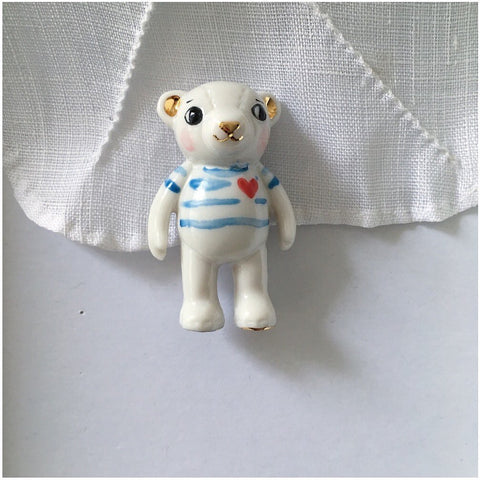 NATACHA PLANO Teddy Bear Porcelain Necklace: Blue Stripes