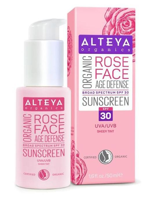 ALTEYA Organic Rose Face Sunscreen 有機玫瑰防曬面霜 SPF 30 (Sheer Tint) [50ml] - MINT Organics