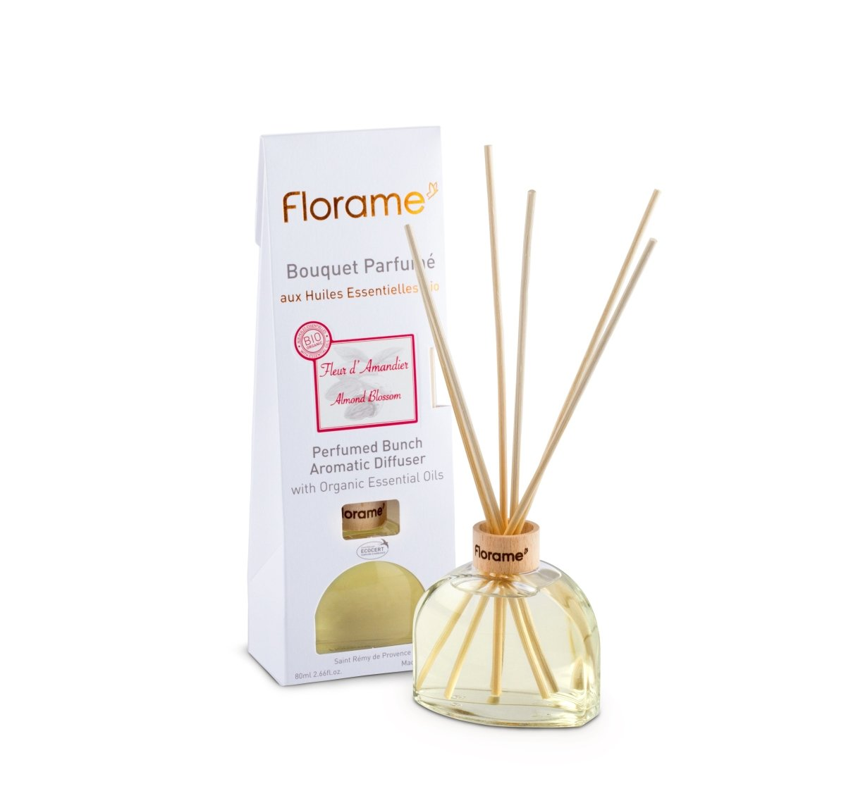 FLORAME Perfumed Sticks Almond Blossom 杏仁花家居香薰座 [80ml] - MINT Organics