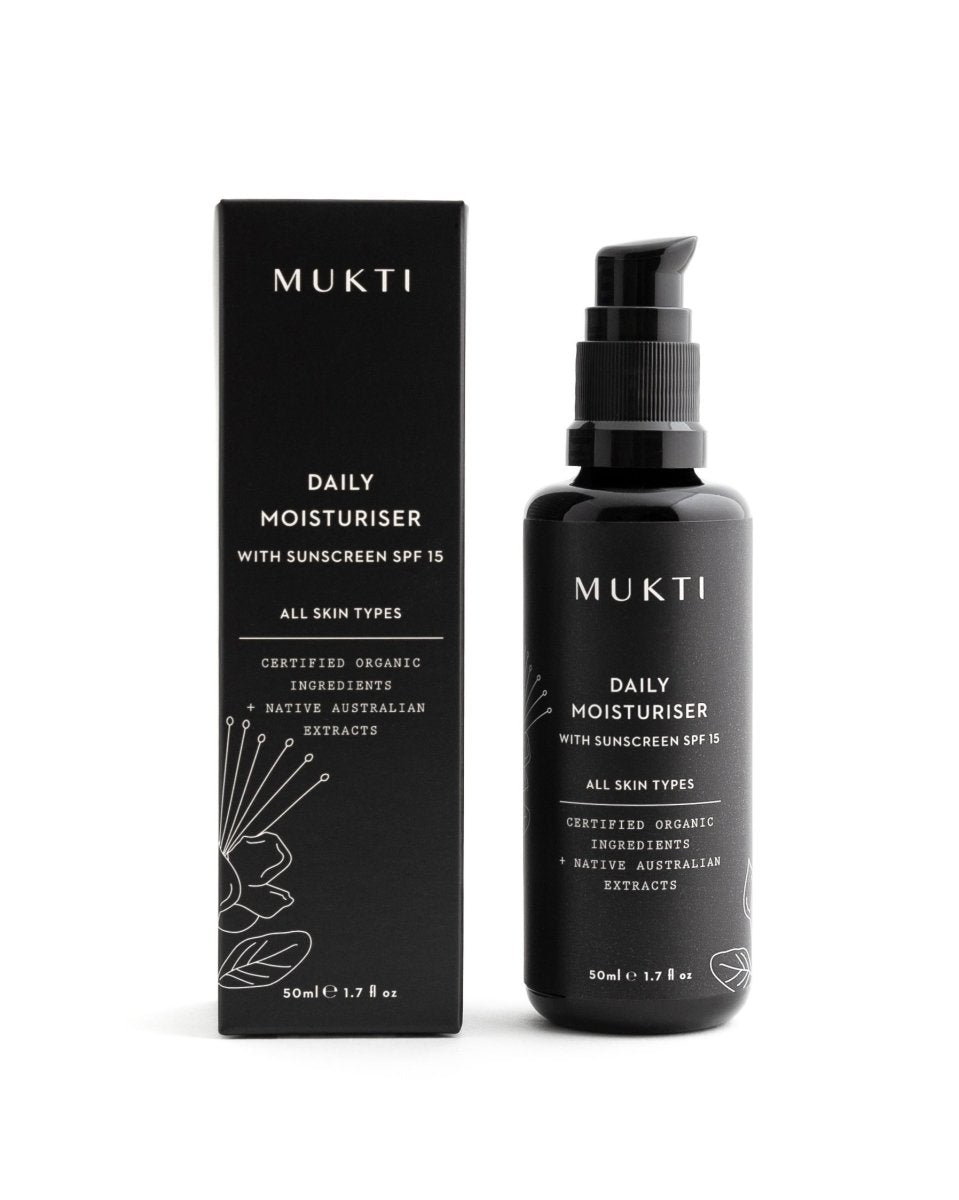 MUKTI Daily Moisturiser With Sunscreen SPF 15 [50ml] - MINT Organics