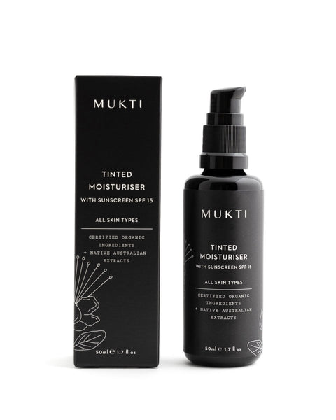 MUKTI Tinted Moisturiser With Sunscreen SPF 15 [50ml] - MINT Organics