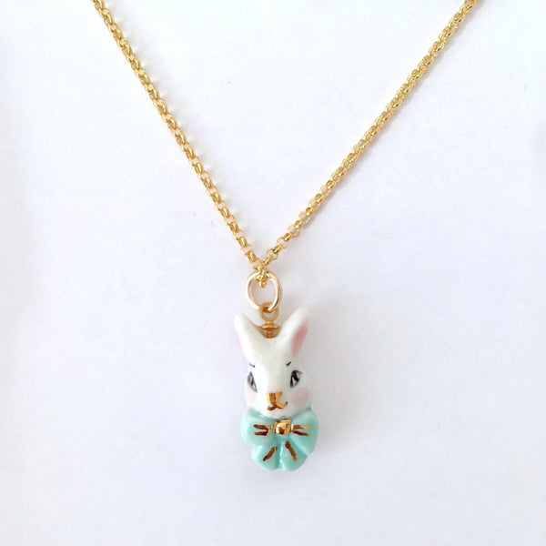NATACHA PLANO Alice in Blue: Porcelain Bunny Necklace - MINT Organics