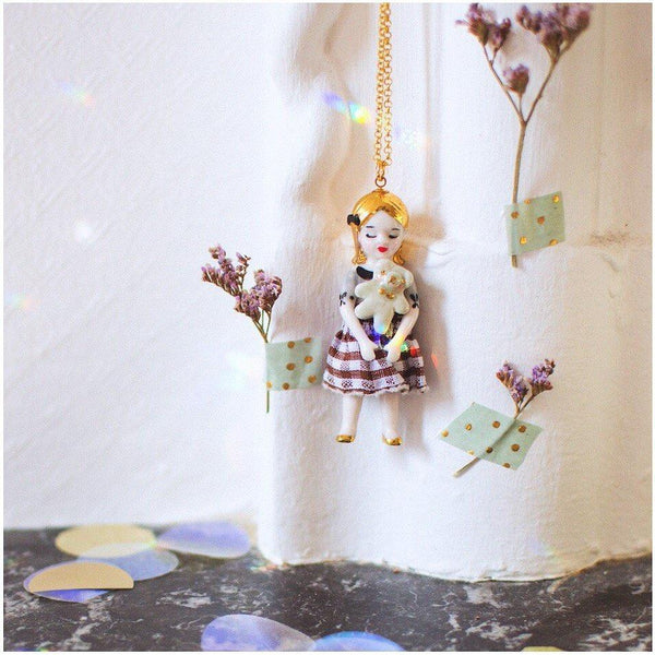 NATACHA PLANO Porcelain Doll Necklace: Blondie - MINT Organics