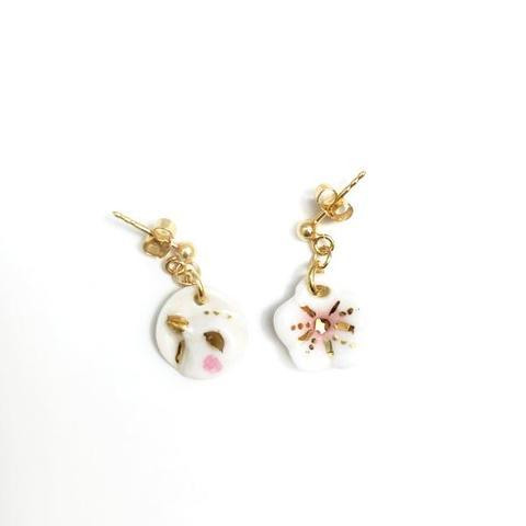 NATACHA PLANO Sakura & Bird: Pink / White Earrings - MINT Organics